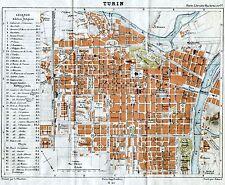 Pianta di Torino. Carta Topografica,Geografica.Stampa Antica + Passepartout.1883