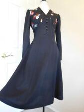 DRESS VINTAGE 1960's 70's Ladies Long Empire Waist hippy gown 42 10/12 Black