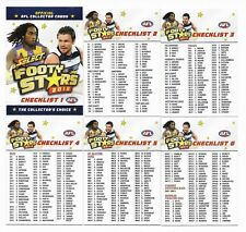 2018 Select Footy Stars CHECK LISTS (6 Cards)