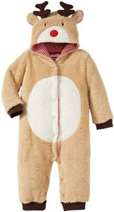Christmas Reindeer Boy Girl Brown Pramsuit Playsuit All in one Babygrow 3 to 12