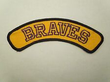 """Vintage Yellow and Purple """"BRAVES"""" Sports School Team Name Logo Tab Patch"""