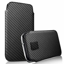 For Celkon Millennia Xplore - Carbon Fibre Pull Tab Case Cover Pouch
