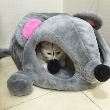 Cat Cave Bed Gray Mouse Shape Hide Tunnel Toy Igloo Soft Cushion Small Dog House