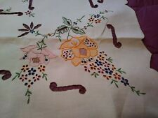 "Brightly Colored Madeira Embroidered Linen Tablecloth 42"" by 40"""