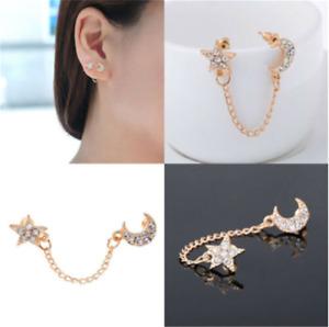 Inlaid Full Crystals Moon Star Chain Piercing Earrings Single Ear Double Hole