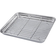 2X Stainless Steel Baking Tray with Rack BBQ Roaster Oven Cooling Rack Sheet Pan