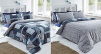 TEAL REVERSIBLE REMI PATCHWORK PRINT DUVET COVER SET IN DOUBLE KING OR SUPERKING