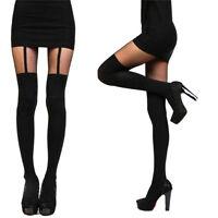 Fashion Women Girls Temptation Sheer Mock Suspender Tights Pantyhose Stockings #