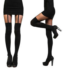 Women Girls Temptation Sheer Mock Suspender Tights Pantyhose Stockings ev