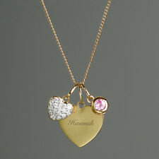 Personalised Sterling Silver & 9ct Gold Heart Necklace Sister Gift Mum Birthday