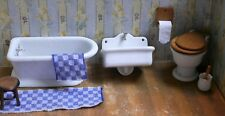 antike Porzellan Badewanne + Waschbecken +  WC Puppenstube Puppenbad Gottschalk