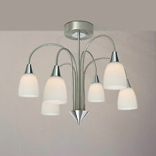 WOFI Plafonnier LED Casa 6 lampes Chrome Nickel Verre Blanc 30 WATT 2580 Lumen