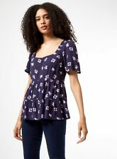 Dorothy Perkins Womens Blue Floral Tired Top Short Sleeve Square Neck Blouse