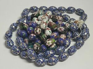 75pc CLOISONNE BEADS-ROUND VINTAGE-FOR NECKLACES-PAINTED-CHINA-SILVER INLAY?NR