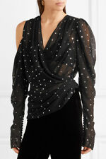 MOST WANTED MAGDA BUTRYM Dresden metallic polka-dot silk-blend blouse top Size S