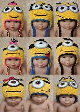 Wholesale Lot 10 Knit Cotton Newborn Baby Child Minions Hat Cap Photo Prop Hats