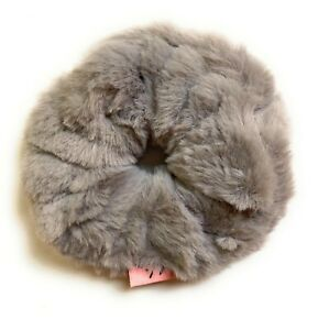 Mia Beauty Furry Scrunchie, Ponytail Holder Hair Accessory, Charcoal Gray