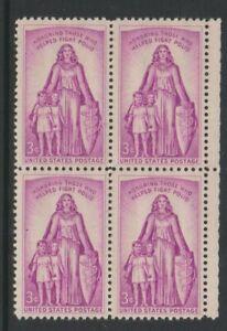 USA - 1957, 3c Mauve, Infantile Paralysis Relief Block Of 4 - M/M - Sg 1089