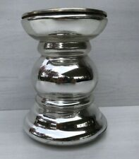 """Antiqued Mercury Glass Pillar Candle Holder Silver5 3/8"""""""