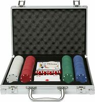 200 Pcs Poker Set Chips Dice Cards Aluminium Casino Style Carry Case Game Night