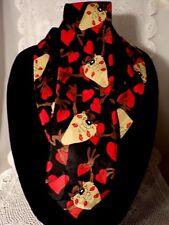 Taz Hearts Kisses Looney Tunes WB Vintage Tie 1997 Black Red