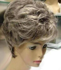 Hot Sell New Fashion Short Gray Mix White Curly Women's Lady's Hair Wig Wigs+Cap