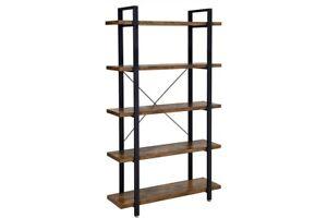 Mid-Century Modern 5-Tier Industrial Bookshelf, Wood, Metal, Five Shelves
