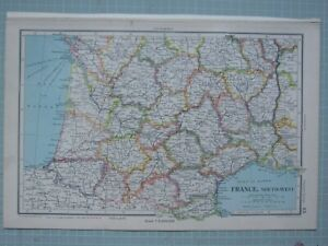 1943 MAP FRANCE SOUTH WEST LOZERE TARN AVEYRON AUDE GERS TOULOUSE LANDES