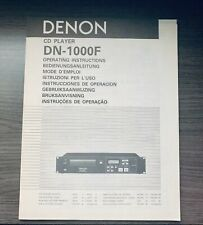 ORIGINAL OPERATING MANUAL INSTRUCTIONS DENON DN 1000F DN1000F CD DESK DJ