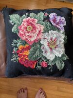 KATHA DIDDEL HOME COLLECTION  WOOL NEEDLEPOINT PILLOW Black Velvet Floral 12x12