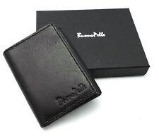 Da Uomo Vera Pelle Carta Di Credito Portafoglio Con ID Custodia TRIPLA slot Slim Fold Note Mini