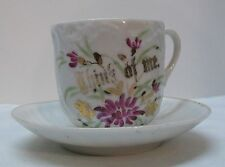 Think of Me Purple Flowers Teacup Saucer Remembrance Made in Germany Vintage