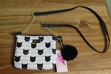 NEW LUV BETSEY JOHNSON Stripe Cat Face Kitty Double Crossbody Purse Bag Tote