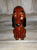Vintage Sad Face Dog Crying Basset Hound savings bank unique rare brown