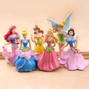 6PCS  Princess Toy Cake Topper Cinderella Snow White Belle Mixed Figures