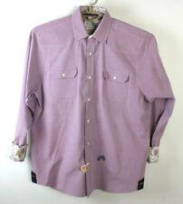 John Lennon Men's Purple and White Checkered Shirt floral cuffs size L 16.5 / 17