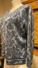 Sarah Spencer Sweater Lambswool & Angora Paisley Print Long Sleeve Plus Size 2X