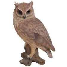 SCREECH OWL ON STUMP SMALL - Realistic Life Like Figurine Statue Home / Garden