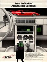 Alpine Car Phone Audio Radio Lamborghini Mobile Electronic 1985 Vintage Print Ad