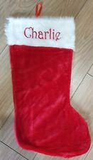 Personalised Christmas Large Stocking Plush Fluffy Santa Red Stocking