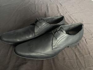Mens Ben Sherman Black Leather Shoes Size 9 School / Work