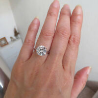 14K Solid White Gold Rings 3.00 Ct Round Moissanite Engagement Ring Size N O 00*