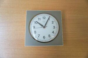 Vintage Metamec Quartz Wall Clock Working Order 19cm Square 3.5cm Depth