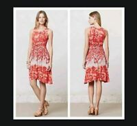 ANTHROPOLOGIE Dress Sz S Lilka Coral Gardens Floral Retro Print Red Orange White