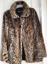 Ladies/Womens Leopard Print Faux Fur Jacket. Size 8.  Vintage Style