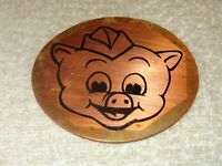 "VINTAGE ANTIQUE ORIGINAL PIGGLY WIGGLY GROCERY STORE PIG 3.5"" METAL GAS OIL SIGN"