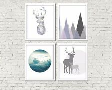 8 x 10in Set of 4 TRIBAL NORDIC stag deer mountains geometric wall art prints