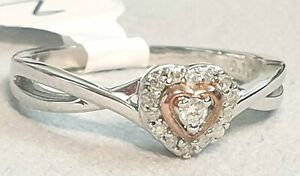 SILVER AND 9CT ROSE GOLD PLATED DIAMOND ACCENT HEART RING Size M