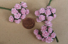 1:12 Scale 3 Bunches (30 Flowers) Of Pink Paper Roses Dolls House Miniature K