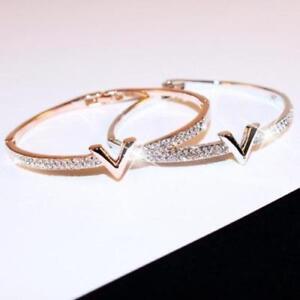 18K Gold Plated V Logo Bracelet Bangle made with SWAROVSKI ELEMENTS SILVER